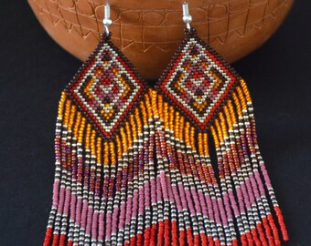 Seed bead earrings, Native American beadwork, summer boho earrings, fringe earrings, beadwork jewelry, ethnic style, tribal earrings
