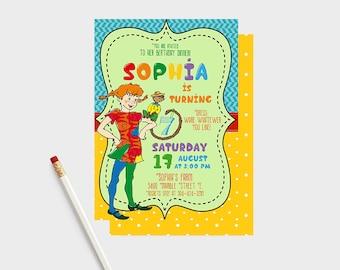Pippi Longstocking Birthday Invitation, Pippi party, Pippi birthday, Pippi invitations, Pippi birthday invitations, Pippi Longstocking,