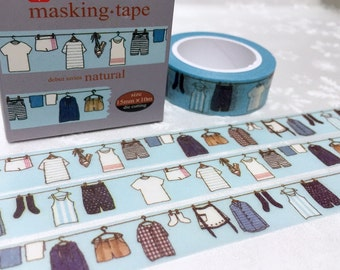 hanging clothes washi tape  10M x 1.5 CM do the laundry clothing labels sticker laundry theme fashion washi masking tape decor tape gift