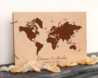 Wedding Guest Book, Rustic Guest Book, World Map Wedding Guestbook, Wood wedding guestbook, Wedding ideas, Unique guest book gift for couple