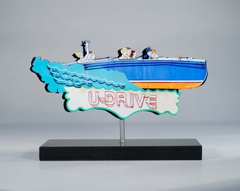 U-DRive Speedboat neon sign photo / chris-craft /vintage boat sign / mid century sign / lake decor / cabin decor / speedboat art