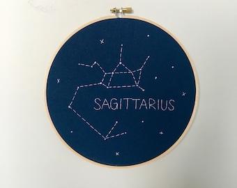 "SAGITTARIUS 8"" Glow-in-the-dark Zodiac Constellation Embroidery Hoop Art - Astrology Wall Hanging - Sagittarius wall decor - Zodiac sign"