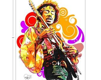 Jimi Hendrix, Woodstock, 11x14 in, 29x36 cm, Signed Art Print w/ COA