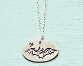 silver BAT NECKLACE by boygirlparty - flying bat pendant - sterling silver bat jewelry charm creepy cute