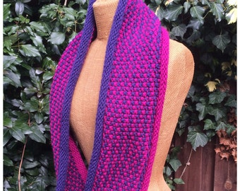 PDF knitting pattern infinity cowl Hope, infinity scarf, easy knit pattern scarf, wrap, neckwarmer