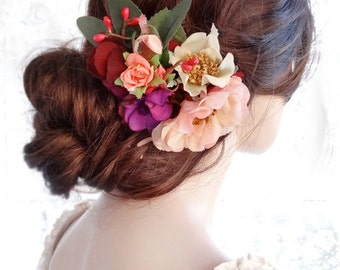 bridal headpiece flower, floral hair clip,  bridal hair clip, wedding hair comb, hair clip flower, rustic wedding hairpiece, peach coral