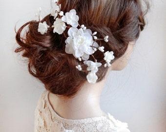 bridal hair piece, bridal hair accessories, bridal hair vine, floral hair clip, wedding hairpiece, bridal hair comb, flower headpiece