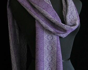 Handwoven Scarf Purple Scarf Long Scarf Tencel Soft Handmade Scarf Lilac Iris Grey Lightweight Scarf by FiberFusion - Purple Mist