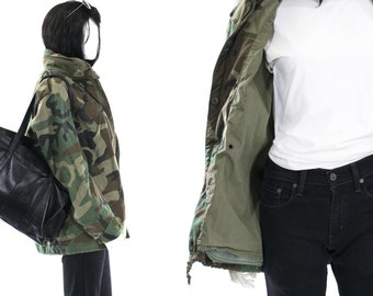 Camo Jacket Vintage Army Jacket Unisex Military Issue Winter Coat ALL SIZES