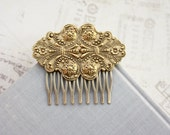 Large Matte Gold Ornate Victorian Brass Comb, Bridal Wedding Comb Vintage Gold Wedding Vintage Inspired Victorian Art Deco Large Gold Ornate