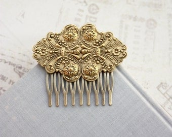 Large Matte Gold Ornate Victorian Brass Comb, Bridal Wedding Comb Vintage Gold Wedding Vintage Inspired Victorian Art Deco Large Gold Ornate