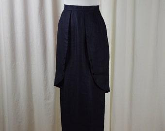 Edwardian Style Skirt, Vintage Skirt, Navy Hobble Skirt, Tea Length Skirt, Linen Skirt, J.Peterman Company, Downton Abbey, 1910 Skirt,