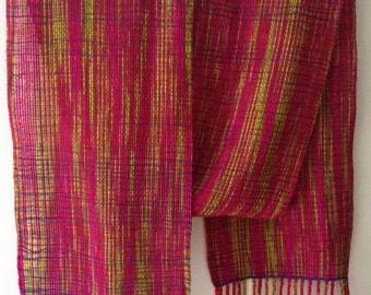 Handwoven Merino and Silk Scarf //  Pink / Red / Green / Purple / Autumn / Fall / Colorful / Lightweight / Hand Dyed