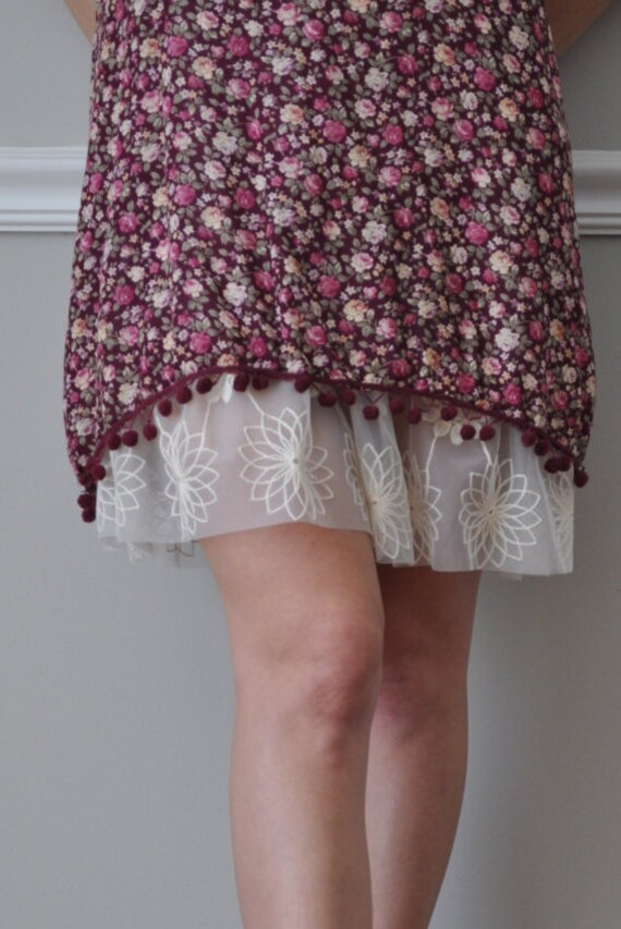 Slip Extender - Ivory Embroidered Long Lace Trim - Skirt Extender - XS S M L XL XXL