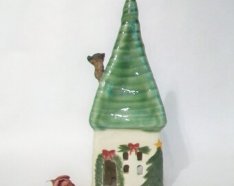 Fairy House/ Night Light -- Decorated for the Holidays  - not quite Squared Up - Wheel Thrown - OOAK - with Light Cord