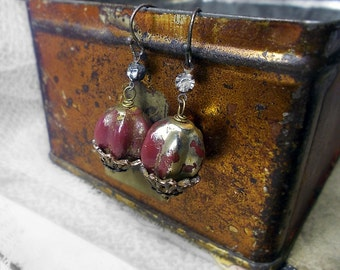 Beaded Earrings - Rustic Fluted Beads  -  Shabby Vintage Bead & Fancy Gothic Caps - Rhinestone Gems - Single Bead Earrings - Tarnished GLam