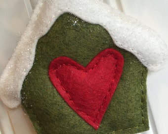 Frosty Covered Birdhouse Felt Ornament
