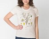 Botanical Flower Tshirt / Chamomile Womens Tan Tri-blend American Apparel Boho Flowers / Vintage Illustration Digital Printed /T1104-p