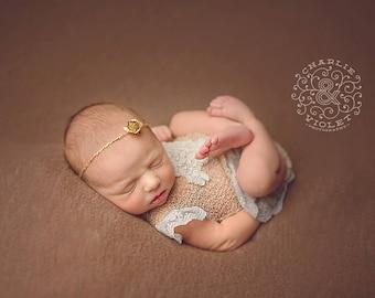 Gold Flower Tieback, Gold Flower Headband, RTS, Newborn Tieback, Newborn Headband, Christmas Tieback, Christmas Headband, Halo