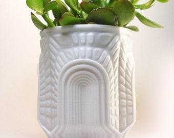 Aztec Design Portal Planter , Visionary Sculpture , Architecture Design , Egyptian Relic , Sculpted Plant Container , 3D Printed Pot