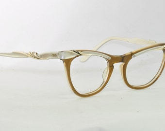 Vintage Cat Eye Glasses, Amber with Silver Brow and Temples, UZ, 1950s, 1960s