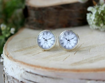 Vintage style clock face Stud Earrings, Silver Plated, Glass Cabochon