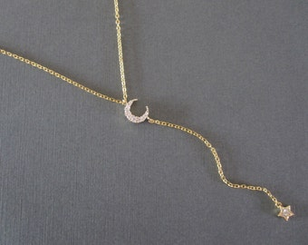 Sparkling Moon & Star Gold Lariat Necklace