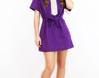 Vintage 60s MOD Mini Dress + HEADBAND Purple Retro Graphic Print // Vintage Dresses by TatiTati Style on Etsy