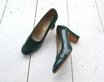 1980s Ferragamo Suede and Snakeskin Heels, Size 7M