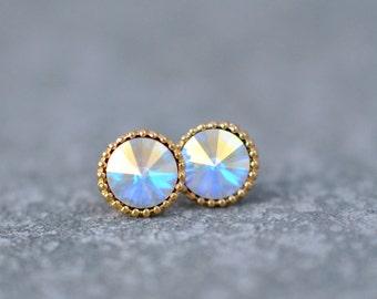 Rainbow Aurora Borealis Earrings Organic Edge Studs Gold Silver Brass Ball Swarovski Crystal Rainbow Stud Earrings Studs Mashugana