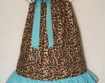 Leopard & Aqua Dress / Ruffle / Safari / Cheetah / Beautiful / Animal Print / Infant / Baby / Toddler / Boutique Clothing