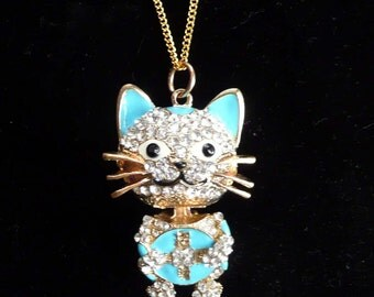 Cat Rhinestone Necklace Big Fun Moveable Parts Kitten