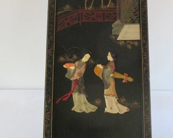 Japanese Panel, Vintage Wall Hanging, Stone Figures, Paint Painted Black Background, Traditional Design Asian Garden Scene