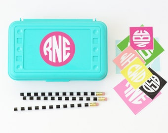 Monogram Stickers Personalized Pencil Box Labels Custom School Supplies Back to School Stickers Lunch Box Name Labels Monogram Pencil Case