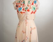 1970's Vibrant Flower Sheer Summer Dress. Size Medium.