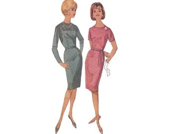 1960s Misses Fitted Sheath Dress Pattern Bust 35 Simplicity 5654 Jewel Neckline Sleeve Options Learn to Sew Vintage Sewing Pattern