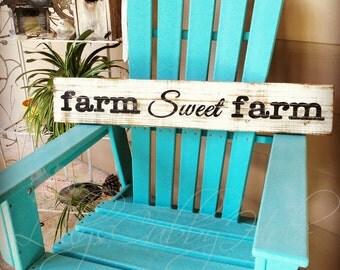 Farm Sweet Farm Wood Sign Farmhouse Style Home Decor Distressed Repurposed Wood Sign