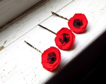 3 Tiny Red Poppy Flower Hair Pins, Small Floral Bobby Pins, Silk Fabric Poppies for Hair, Red Wedding Hair pin Flowers, Mini Hair Flower 1""