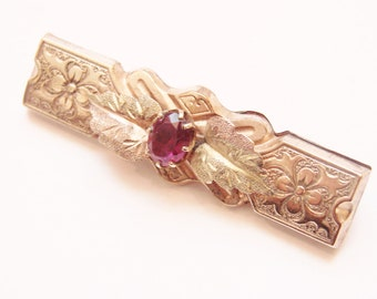 Victorian Engraved Garnet Brooch / Rolled Gold Plate  / Intricate Engraving / 1800 Jewelry / CIJ Sale 20% Off Coupon Code (CIJSALE1)