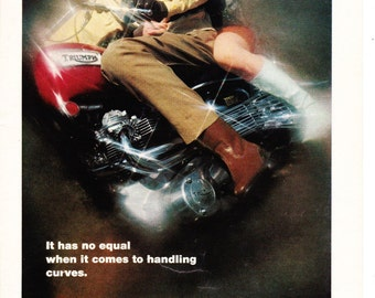 Vintage Original Magazine Advertisement 1969 Triumph Motorcycle - Wall Art - Wall Decor - Man Room - Motorcycle Ad - Magazine Ad