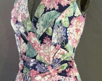 Plus Size Vintage 80s Floral Dress