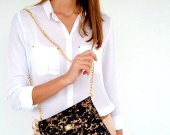 Leather purse with animal print / Calf leather clutch / Handmade leather bag with gold metal chain
