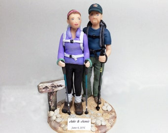 Custom Cake Topper, Wedding Bride and Groom Hikers Cake Topper, Custom from your Ideas and Photos