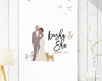 Wedding Guest Book Alternative with Couple Portrait  - Printable Wedding Guest Book - Alternative Guest Book, Couple Portrait Guest Book