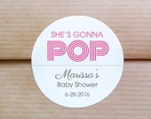 She's gonna pop stickers - Personalized baby shower labels - Popcorn theme shower labels - Baby shower labels - (L-09)