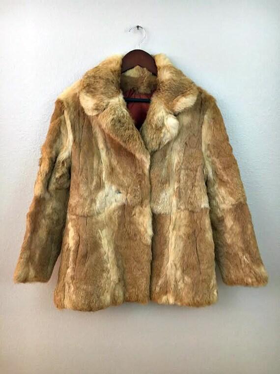 Vintage Fur Coat, Boho Tan Rabbit Fur Jacket, Size Medium Bohemian Coat, Natural Fur Retro Coat