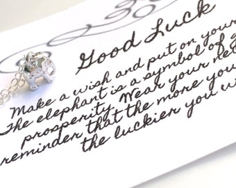 Tiny Silver Good Luck Elephant Necklace, Good Luck Elephant Necklace, Good Luck Necklace, Gold Elephant Necklace