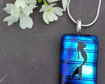 Blue Mermaid Pendant,  Fused Glass jewelry, Fused Glass Jewellery, Swim with The Fishes, Dichroic Glass, Blue Necklace, Gift for Her