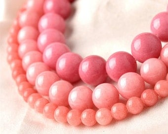 Natural Pink Jade Beads, Smooth Polished Round 4mm-12mm, 15.4 Inch Full Strand (GJ15)