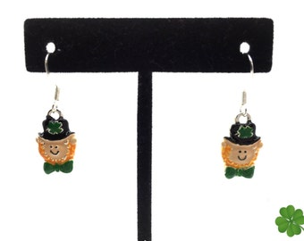 Handmade Happy St. Patrick's Day Leprechaun with Bow Tie and Four Leaf Clover Dangle Earrings.  A Jewelry Gift Box is Included.
